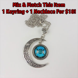 Triple Moon Goddess Blue Necklace Pendant Wicca